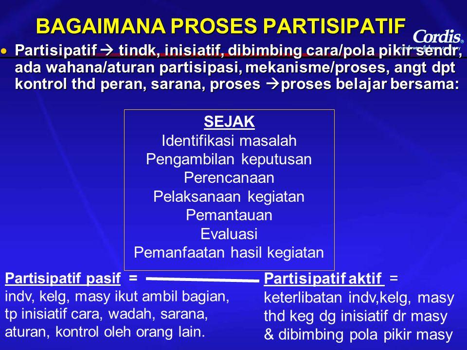 BAGAIMANA PROSES PARTISIPATIF  Partisipatif  tindk, inisiatif, dibimbing cara/pola pikir sendr, ada wahana/aturan partisipasi, mekanisme/proses, ang