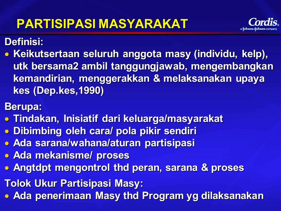 PARTISIPASI MASYARAKAT Definisi:  Keikutsertaan seluruh anggota masy (individu, kelp), utk bersama2 ambil tanggungjawab, mengembangkan kemandirian, m