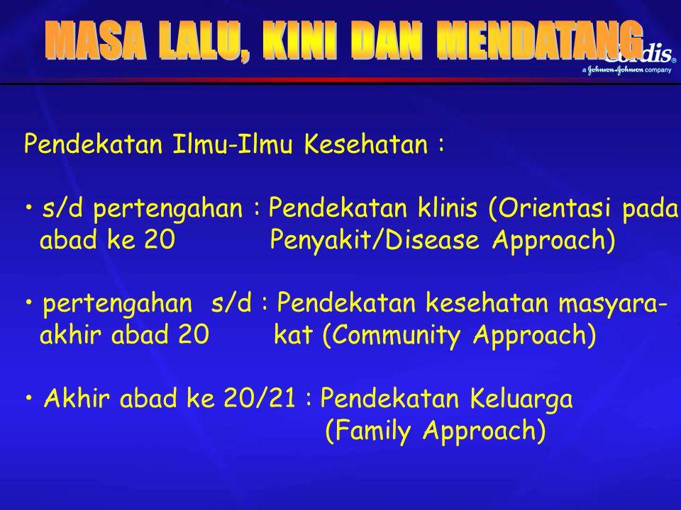 Pendekatan Ilmu-Ilmu Kesehatan : s/d pertengahan : Pendekatan klinis (Orientasi pada abad ke 20 Penyakit/Disease Approach) pertengahan s/d : Pendekata