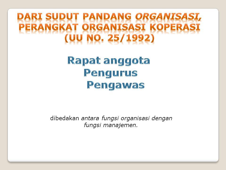 dibedakan antara fungsi organisasi dengan fungsi manajemen.