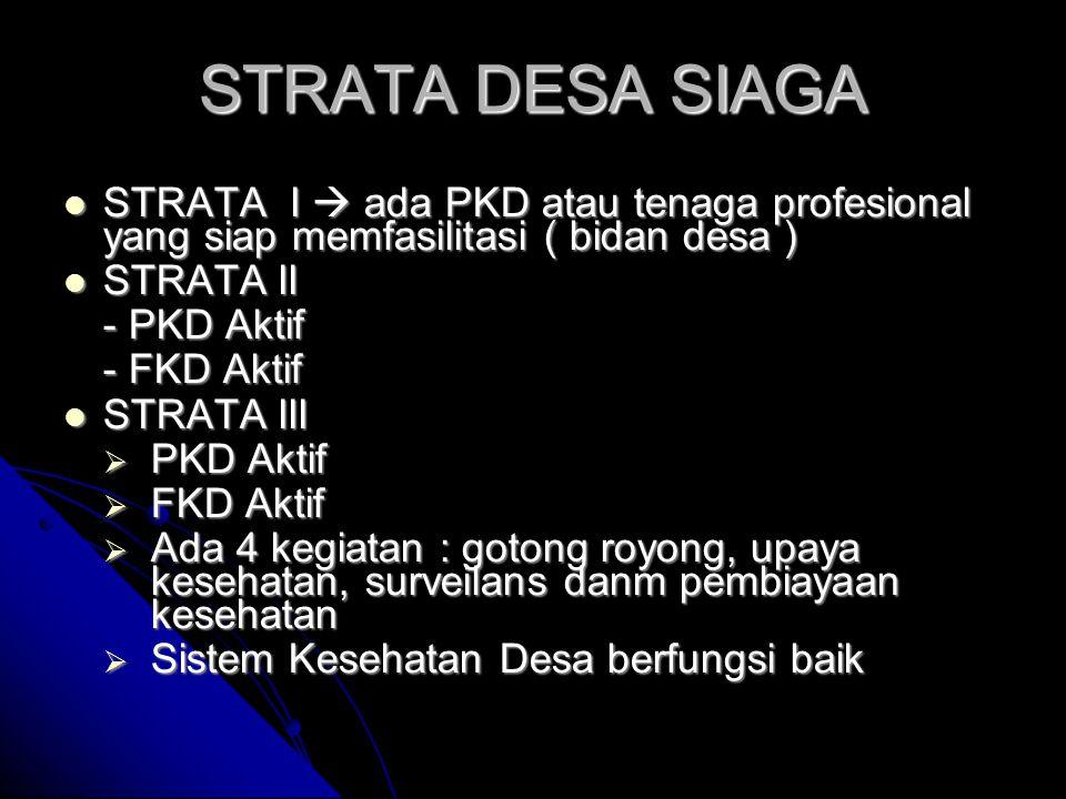 STRATA DESA SIAGA STRATA I  ada PKD atau tenaga profesional yang siap memfasilitasi ( bidan desa ) STRATA I  ada PKD atau tenaga profesional yang si