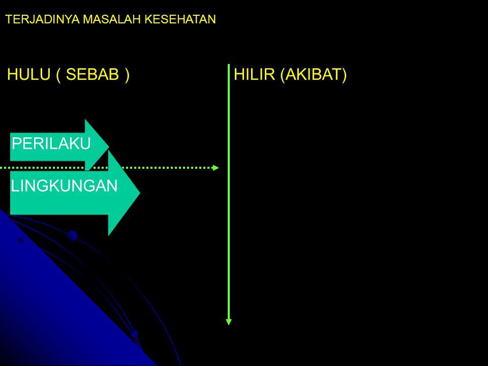 HULU ( SEBAB )HILIR (AKIBAT) TERJADINYA MASALAH KESEHATAN PERILAKU LINGKUNGAN