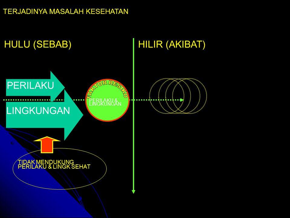 HULU (SEBAB) HILIR (AKIBAT) PERILAKU & LINGKUNGAN TERJADINYA MASALAH KESEHATAN PERILAKU LINGKUNGAN TIDAK MENDUKUNG PERILAKU & LINGK SEHAT