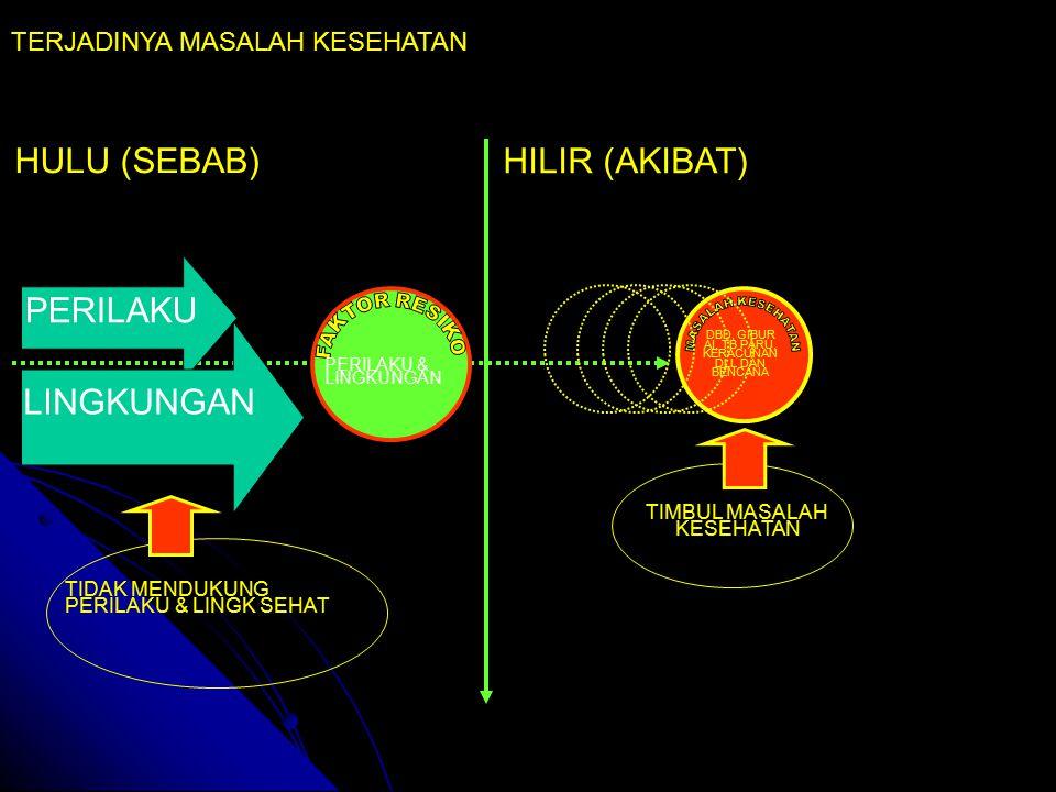HULU (SEBAB) HILIR (AKIBAT) DBD, GIBUR AI, TB PARU, KERACUNAN DLL DAN BENCANA PERILAKU & LINGKUNGAN TERJADINYA MASALAH KESEHATAN PERILAKU LINGKUNGAN TIDAK MENDUKUNG PERILAKU & LINGK SEHAT TIMBUL MASALAH KESEHATAN