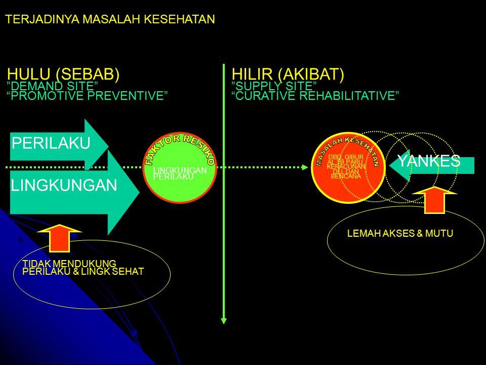 HULU (SEBAB) DEMAND SITE PROMOTIVE PREVENTIVE HILIR (AKIBAT) SUPPLY SITE CURATIVE REHABILITATIVE DBD, GIBUR AI, TB PARU, KERACUNAN DLL DAN BENCANA LINGKUNGAN PERILAKU LINGKUNGAN YANKES TERJADINYA MASALAH KESEHATAN LEMAH AKSES & MUTU TIDAK MENDUKUNG PERILAKU & LINGK SEHAT