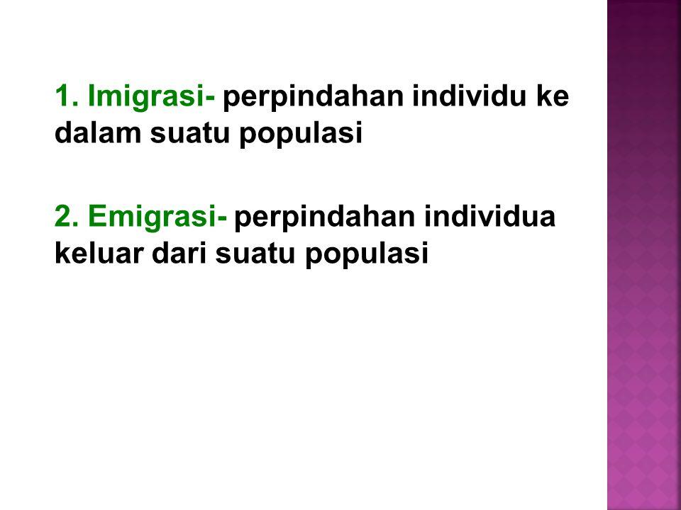 1. Imigrasi- perpindahan individu ke dalam suatu populasi 2. Emigrasi- perpindahan individua keluar dari suatu populasi