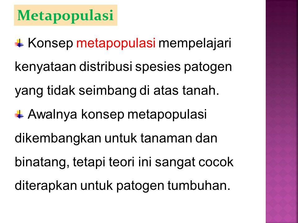 Metapopulasi Konsep metapopulasi mempelajari kenyataan distribusi spesies patogen yang tidak seimbang di atas tanah. Awalnya konsep metapopulasi dikem
