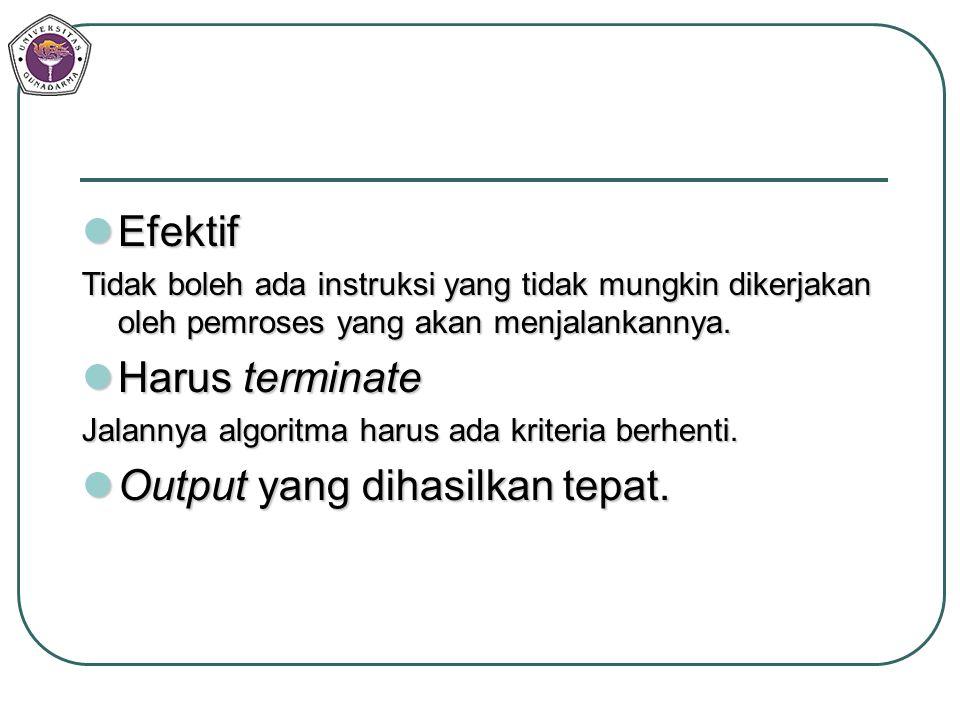 Efektif Efektif Tidak boleh ada instruksi yang tidak mungkin dikerjakan oleh pemroses yang akan menjalankannya. Harus terminate Harus terminate Jalann