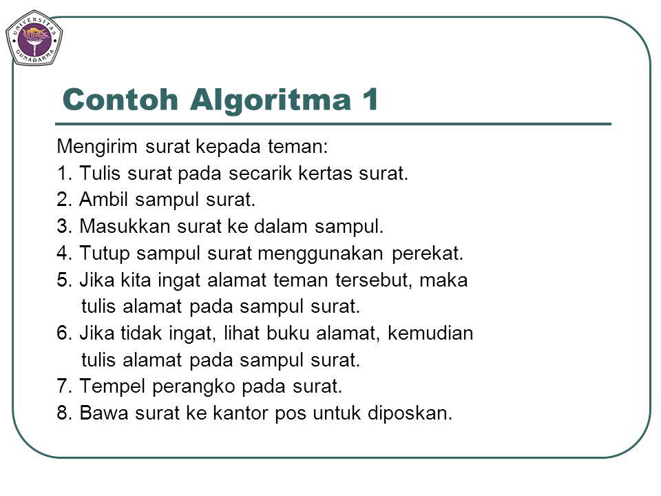 Contoh Algoritma 1 Mengirim surat kepada teman: 1. Tulis surat pada secarik kertas surat. 2. Ambil sampul surat. 3. Masukkan surat ke dalam sampul. 4.