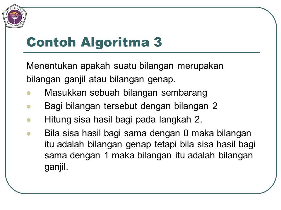 Menentukan apakah suatu bilangan merupakan bilangan ganjil atau bilangan genap. Masukkan sebuah bilangan sembarang Bagi bilangan tersebut dengan bilan