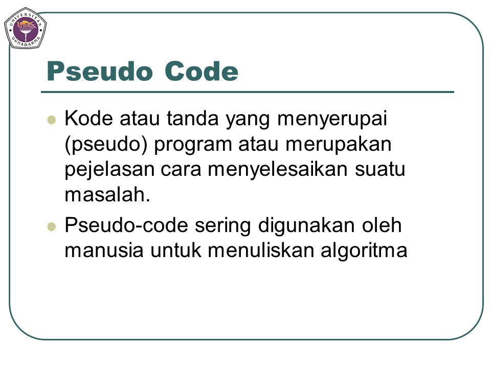 Pseudo Code Kode atau tanda yang menyerupai (pseudo) program atau merupakan pejelasan cara menyelesaikan suatu masalah. Pseudo-code sering digunakan o