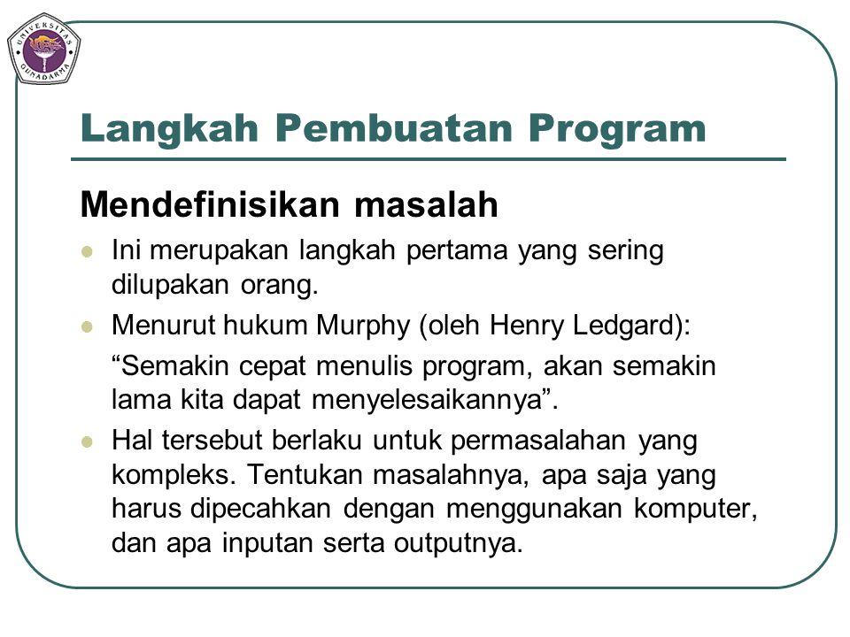Langkah Pembuatan Program Mendefinisikan masalah Ini merupakan langkah pertama yang sering dilupakan orang. Menurut hukum Murphy (oleh Henry Ledgard):