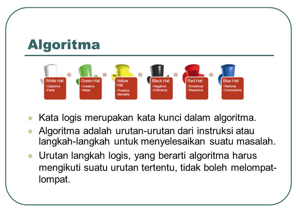 Algoritma Kata logis merupakan kata kunci dalam algoritma. Algoritma adalah urutan-urutan dari instruksi atau langkah-langkah untuk menyelesaikan suat
