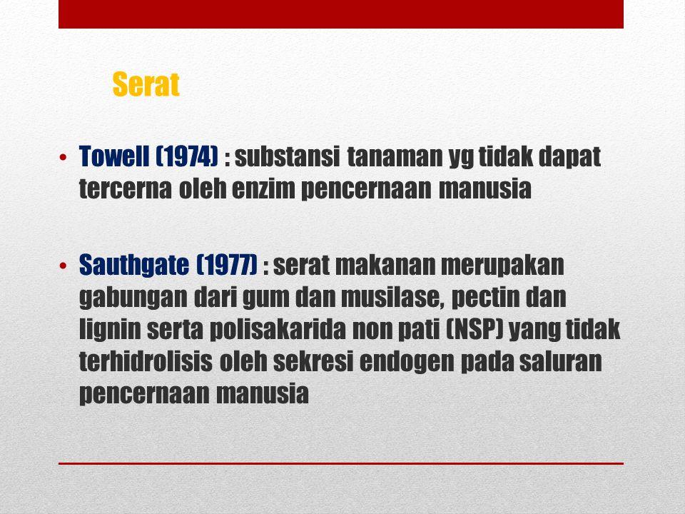 Towell (1974) : substansi tanaman yg tidak dapat tercerna oleh enzim pencernaan manusia Sauthgate (1977) : serat makanan merupakan gabungan dari gum dan musilase, pectin dan lignin serta polisakarida non pati (NSP) yang tidak terhidrolisis oleh sekresi endogen pada saluran pencernaan manusia Serat