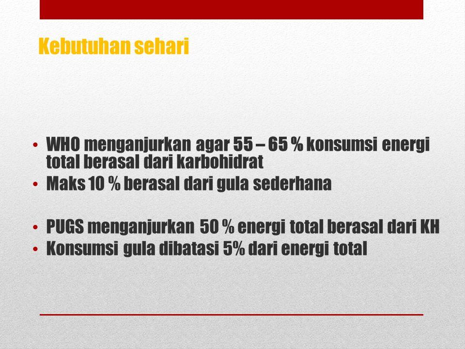 WHO menganjurkan agar 55 – 65 % konsumsi energi total berasal dari karbohidrat Maks 10 % berasal dari gula sederhana PUGS menganjurkan 50 % energi total berasal dari KH Konsumsi gula dibatasi 5% dari energi total Kebutuhan sehari
