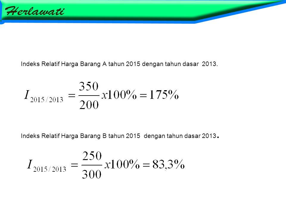 Indeks Relatif Harga Barang A tahun 2015 dengan tahun dasar 2013. Indeks Relatif Harga Barang B tahun 2015 dengan tahun dasar 2013.