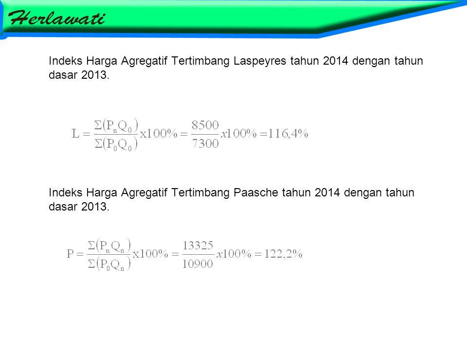 Indeks Harga Agregatif Tertimbang Laspeyres tahun 2014 dengan tahun dasar 2013. Indeks Harga Agregatif Tertimbang Paasche tahun 2014 dengan tahun dasa