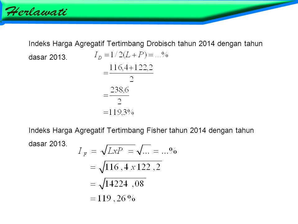 Indeks Harga Agregatif Tertimbang Drobisch tahun 2014 dengan tahun dasar 2013. Indeks Harga Agregatif Tertimbang Fisher tahun 2014 dengan tahun dasar