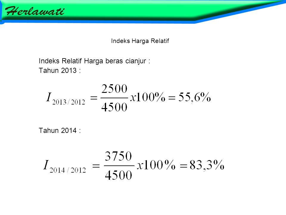 Indeks Harga Relatif Indeks Relatif Harga beras cianjur : Tahun 2013 : Tahun 2014 :