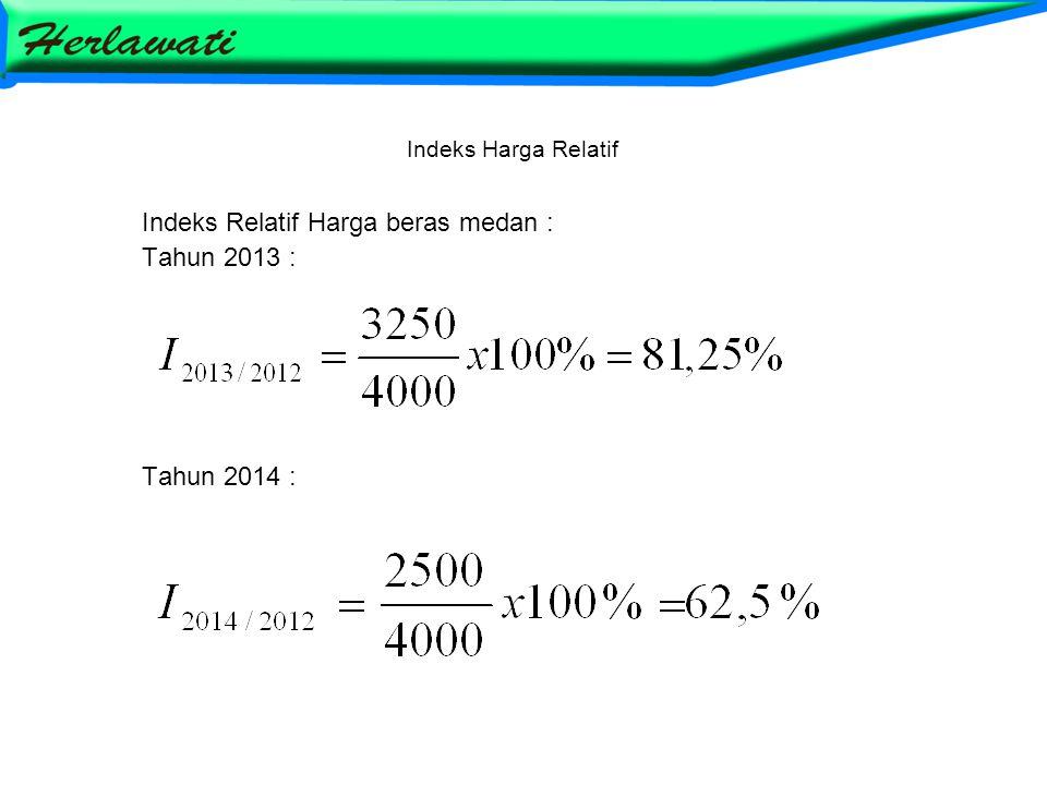 Indeks Harga Relatif Indeks Relatif Harga beras medan : Tahun 2013 : Tahun 2014 :