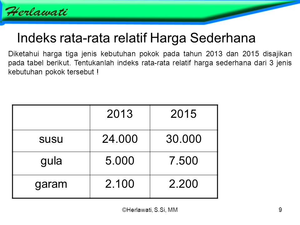 ©Herlawati, S.Si, MM9 Indeks rata-rata relatif Harga Sederhana 20132015 susu24.00030.000 gula5.0007.500 garam2.1002.200 Diketahui harga tiga jenis kebutuhan pokok pada tahun 2013 dan 2015 disajikan pada tabel berikut.