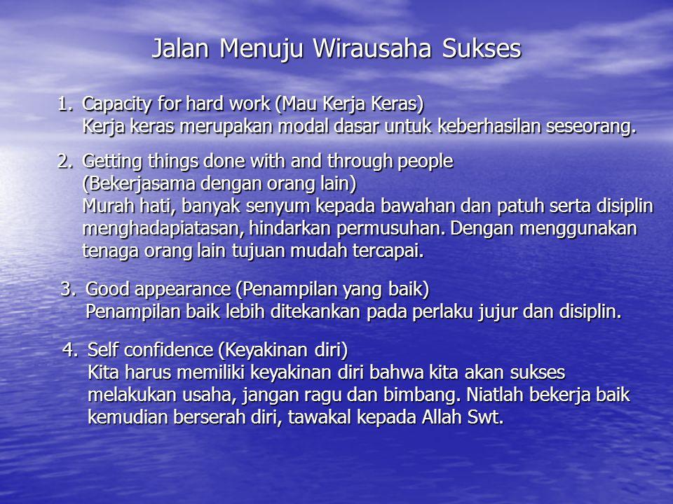 Jalan Menuju Wirausaha Sukses 1.Capacity for hard work (Mau Kerja Keras) Kerja keras merupakan modal dasar untuk keberhasilan seseorang. 2.Getting thi
