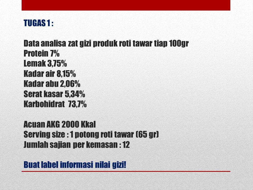 TUGAS 1 : Data analisa zat gizi produk roti tawar tiap 100gr Protein 7% Lemak 3,75% Kadar air 8,15% Kadar abu 2,06% Serat kasar 5,34% Karbohidrat 73,7