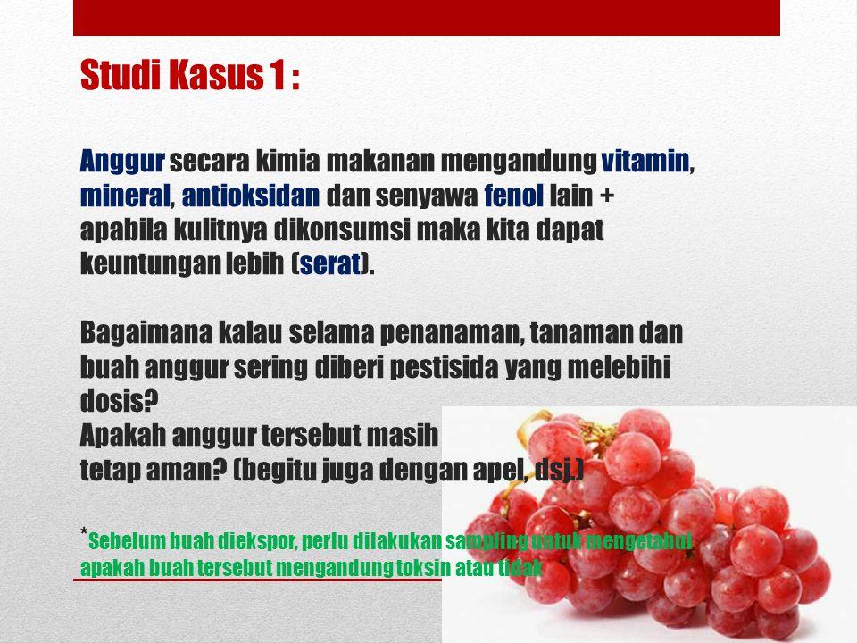 Studi Kasus 1 : Anggur secara kimia makanan mengandung vitamin, mineral, antioksidan dan senyawa fenol lain + apabila kulitnya dikonsumsi maka kita da