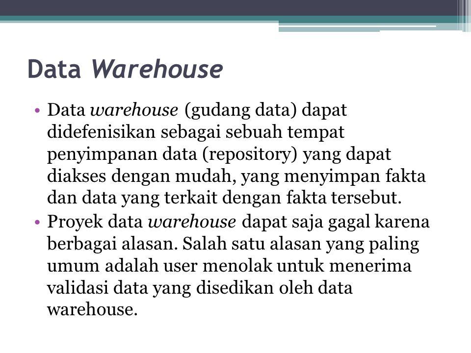 Data Warehouse Data warehouse (gudang data) dapat didefenisikan sebagai sebuah tempat penyimpanan data (repository) yang dapat diakses dengan mudah, y