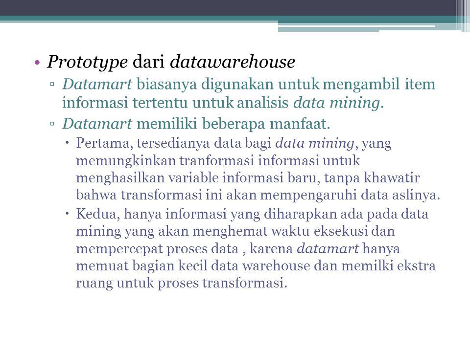 Prototype dari datawarehouse ▫Datamart biasanya digunakan untuk mengambil item informasi tertentu untuk analisis data mining. ▫Datamart memiliki beber