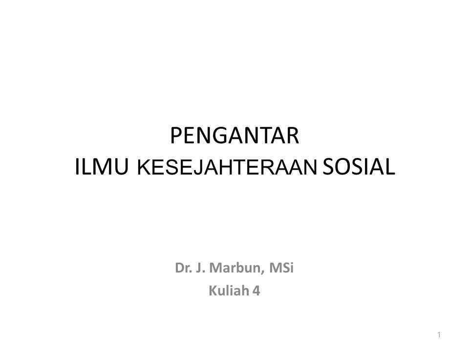 PENGANTAR ILMU KESEJAHTERAAN SOSIAL Dr. J. Marbun, MSi Kuliah 4 1