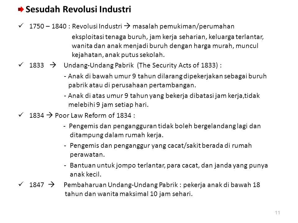 Sesudah Revolusi Industri 1750 – 1840 : Revolusi Industri  masalah pemukiman/perumahan eksploitasi tenaga buruh, jam kerja seharian, keluarga terlant