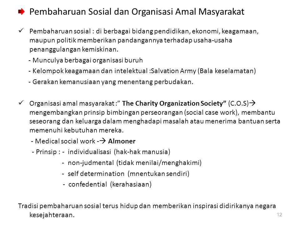 Pembaharuan Sosial dan Organisasi Amal Masyarakat Pembaharuan sosial : di berbagai bidang pendidikan, ekonomi, keagamaan, maupun politik memberikan pa