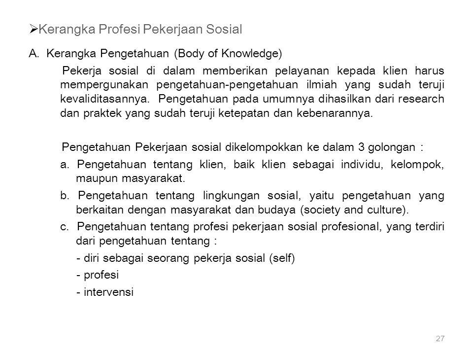  Kerangka Profesi Pekerjaan Sosial A. Kerangka Pengetahuan (Body of Knowledge) Pekerja sosial di dalam memberikan pelayanan kepada klien harus memper
