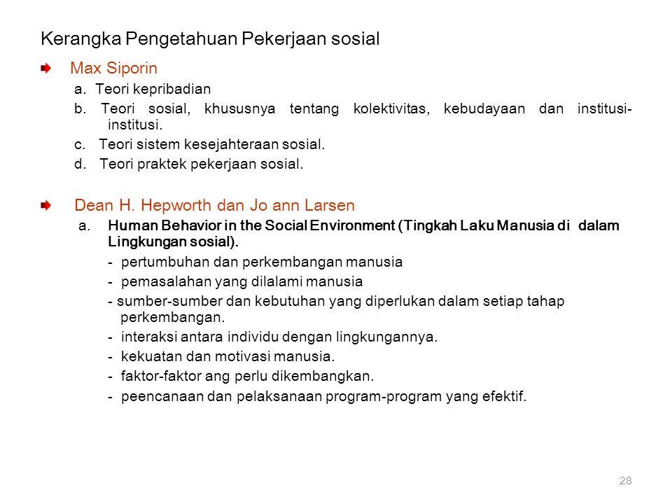 Kerangka Pengetahuan Pekerjaan sosial Max Siporin a. Teori kepribadian b. Teori sosial, khususnya tentang kolektivitas, kebudayaan dan institusi- inst