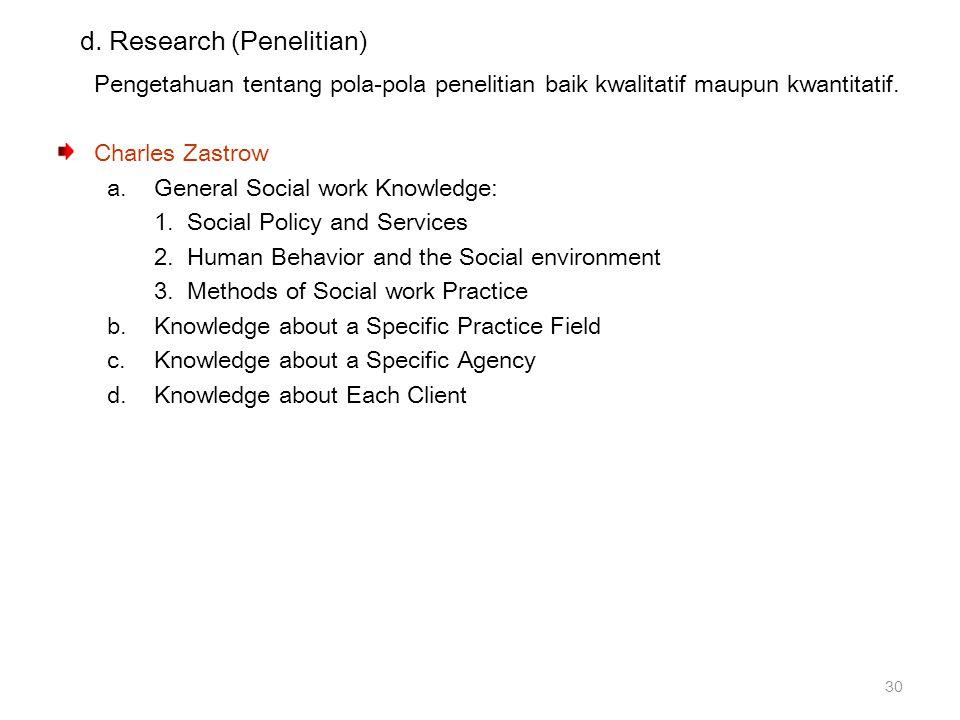 d. Research (Penelitian) Pengetahuan tentang pola-pola penelitian baik kwalitatif maupun kwantitatif. Charles Zastrow a.General Social work Knowledge: