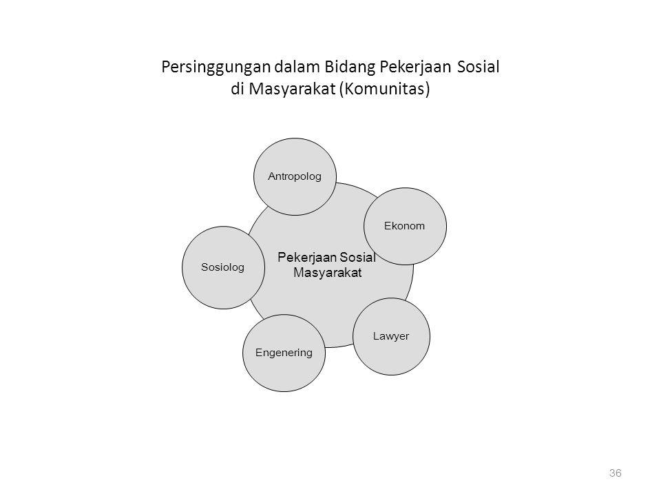 Persinggungan dalam Bidang Pekerjaan Sosial di Masyarakat (Komunitas) 36 Pekerjaan Sosial Masyarakat Engenering Lawyer Sosiolog Antropolog Ekonom