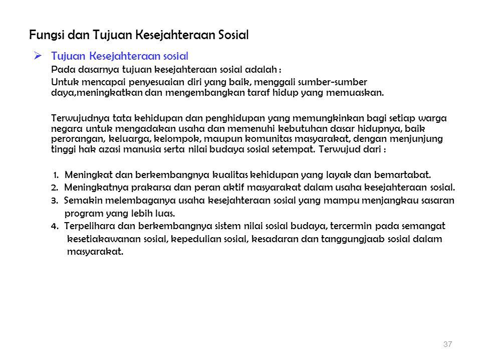 Fungsi dan Tujuan Kesejahteraan Sosial  Tujuan Kesejahteraan sosial Pada dasarnya tujuan kesejahteraan sosial adalah : Untuk mencapai penyesuaian dir