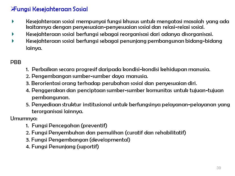  Fungsi Kesejahteraan Sosial Kesejahteraan sosial mempunyai fungsi khusus untuk mengatasi masalah yang ada kaitannya dengan penyesuaian-penyesuaian s