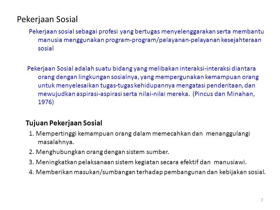 Pekerjaan Sosial Pekerjaan sosial sebagai profesi yang bertugas menyelenggarakan serta membantu manusia menggunakan program-program/pelayanan-pelayana