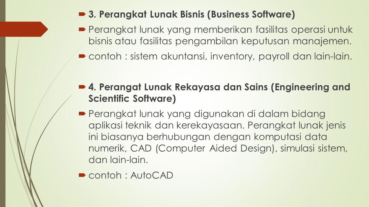  3. Perangkat Lunak Bisnis (Business Software)  Perangkat lunak yang memberikan fasilitas operasi untuk bisnis atau fasilitas pengambilan keputusan
