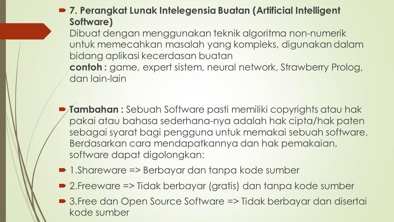  7. Perangkat Lunak Intelegensia Buatan (Artificial Intelligent Software) Dibuat dengan menggunakan teknik algoritma non-numerik untuk memecahkan mas