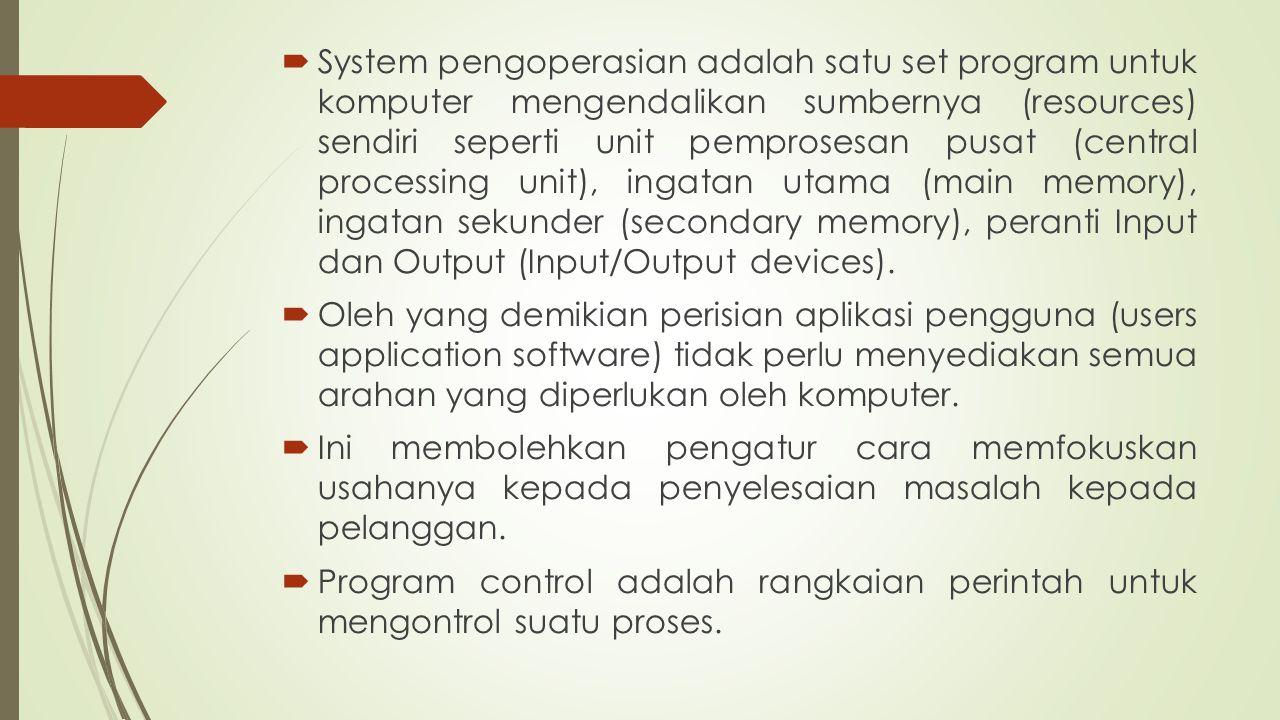  System pengoperasian adalah satu set program untuk komputer mengendalikan sumbernya (resources) sendiri seperti unit pemprosesan pusat (central proc