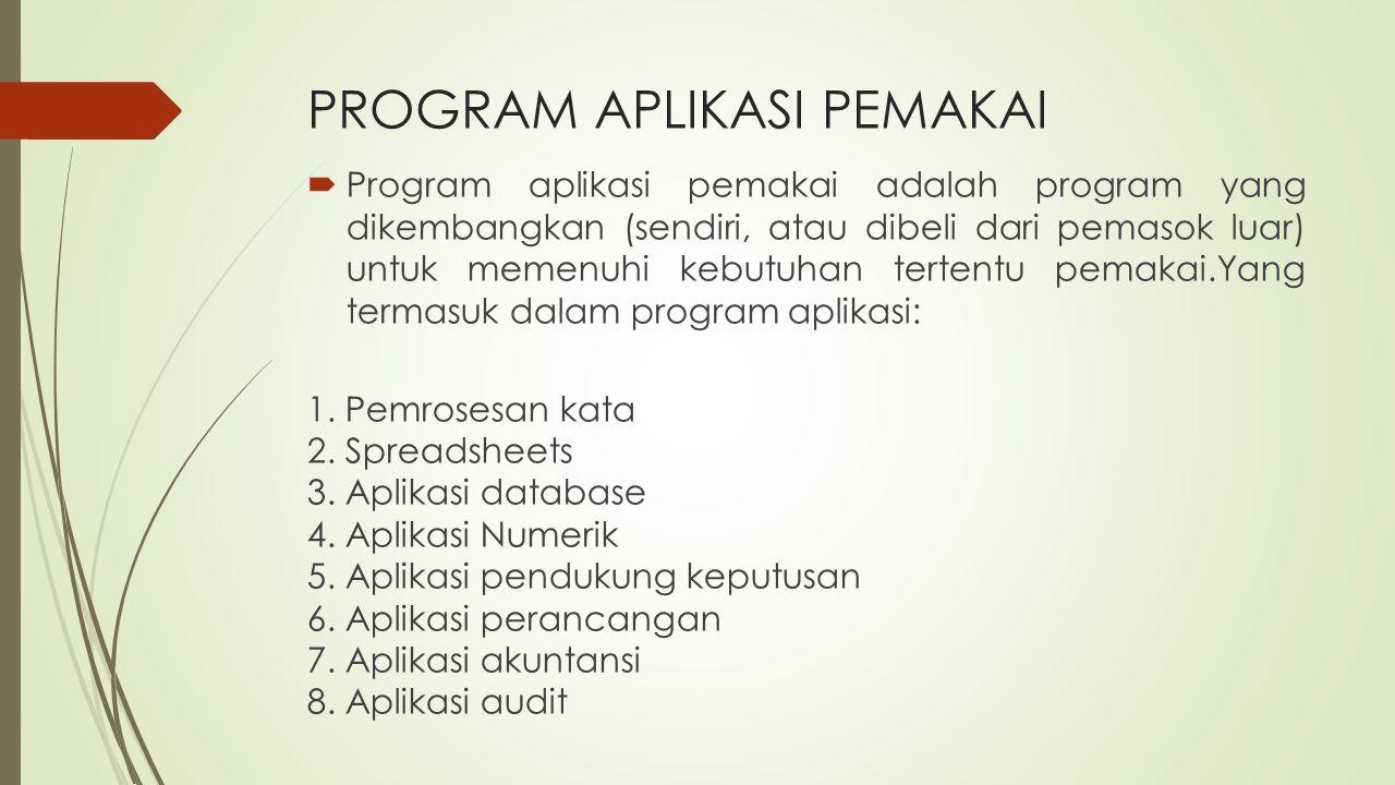 PROGRAM APLIKASI PEMAKAI  Program aplikasi pemakai adalah program yang dikembangkan (sendiri, atau dibeli dari pemasok luar) untuk memenuhi kebutuhan