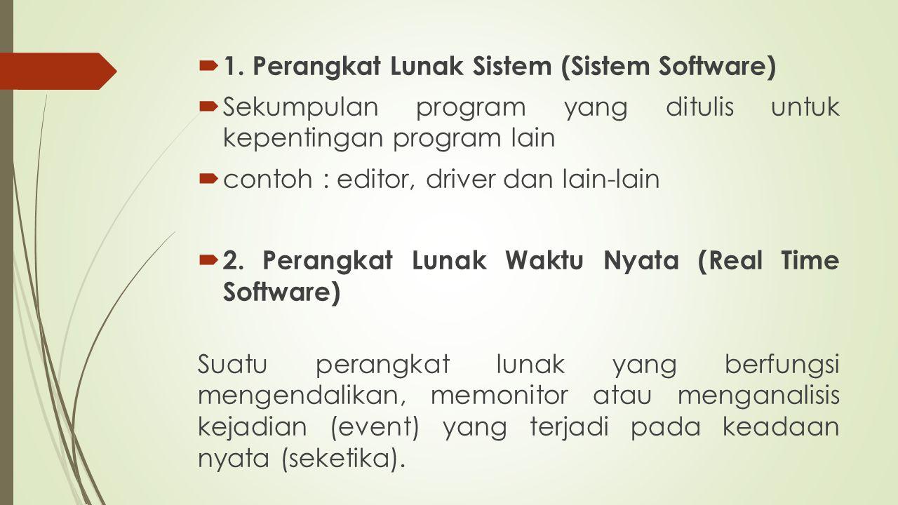  1. Perangkat Lunak Sistem (Sistem Software)  Sekumpulan program yang ditulis untuk kepentingan program lain  contoh : editor, driver dan lain-lain