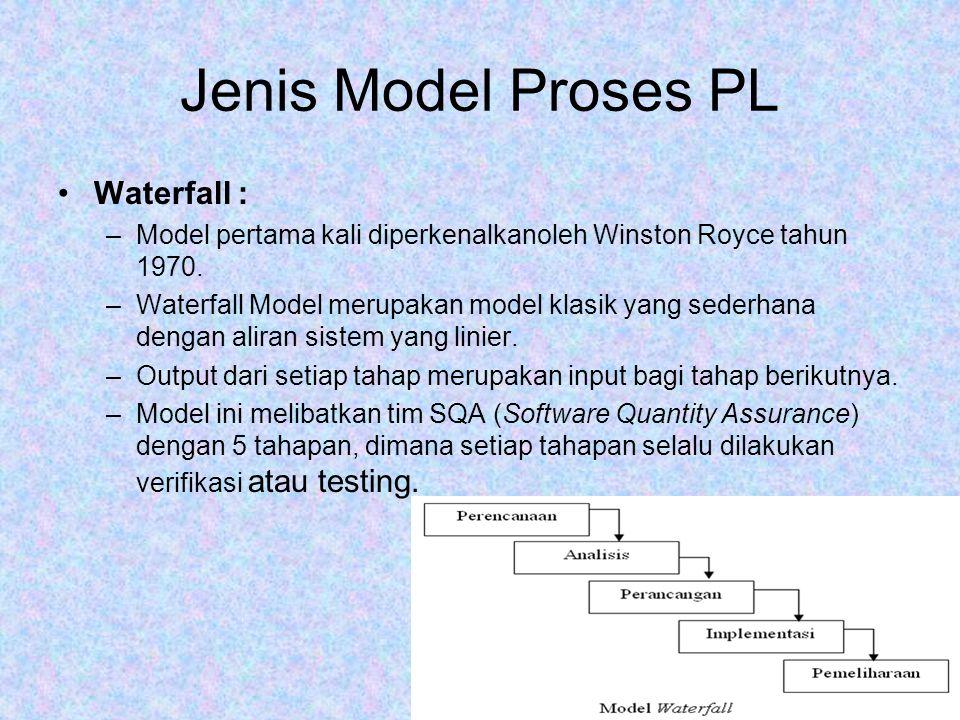 Jenis Model Proses PL Waterfall : –Model pertama kali diperkenalkanoleh Winston Royce tahun 1970. –Waterfall Model merupakan model klasik yang sederha