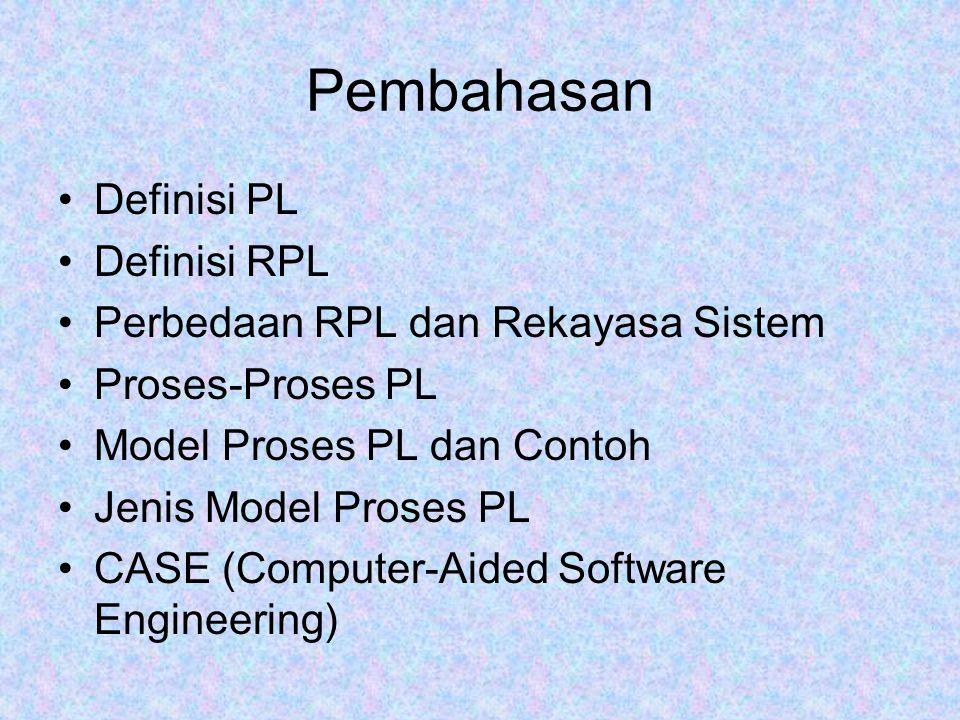 Perangkat Lunak (PL) PL adalah sebuah produk –Menyajikan potensi komputasi (memecahkan masalah menggunakan algoritma) –Menghasilkan, mengelola, memperoleh, modifikasi, menampilkan atau mengirimkan informasi PL adalah alat untuk menyajikan sebuah produk –Mengendalikan program lain (mis : sistem operasi) –Mempengaruhi komunikasi (mis : PL jaringan) –Membantu membangun PL lain (mis : tool PL)
