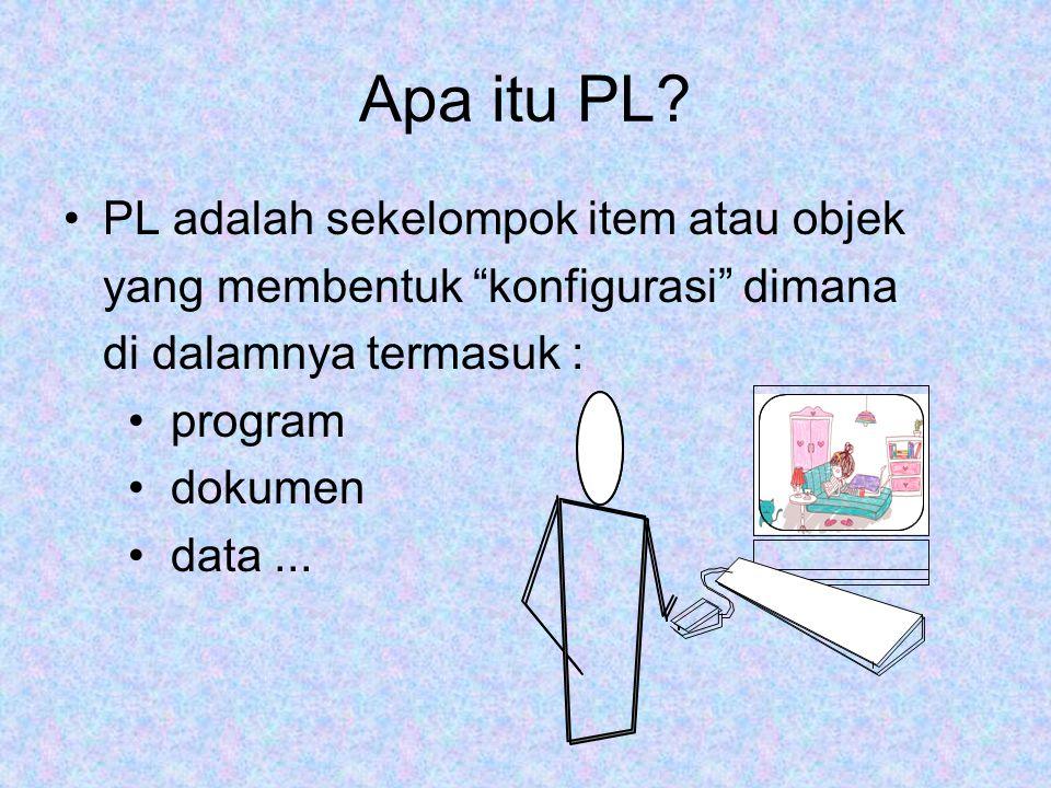 """Apa itu PL? PL adalah sekelompok item atau objek yang membentuk """"konfigurasi"""" dimana di dalamnya termasuk : program dokumen data..."""