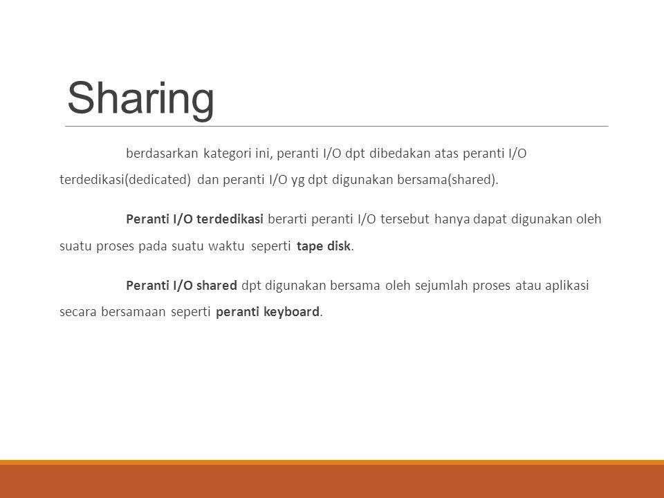 Sharing berdasarkan kategori ini, peranti I/O dpt dibedakan atas peranti I/O terdedikasi(dedicated) dan peranti I/O yg dpt digunakan bersama(shared).
