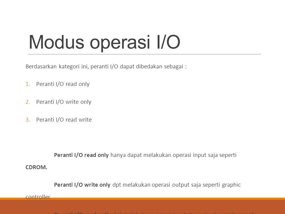 Modus operasi I/O Berdasarkan kategori ini, peranti I/O dapat dibedakan sebagai : 1.Peranti I/O read only 2.Peranti I/O write only 3.Peranti I/O read